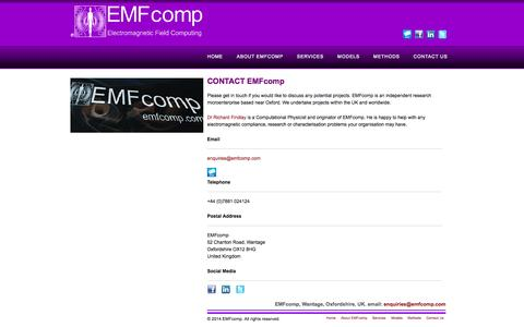 Screenshot of Contact Page emfcomp.com - EMFcomp - Contact - captured Sept. 30, 2014