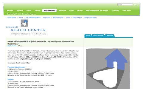 Screenshot of Locations Page communityreachcenter.org - Mental Health Offices in Brighton, Commerce City, Northglenn, Thornton, Westminster - captured Sept. 30, 2014