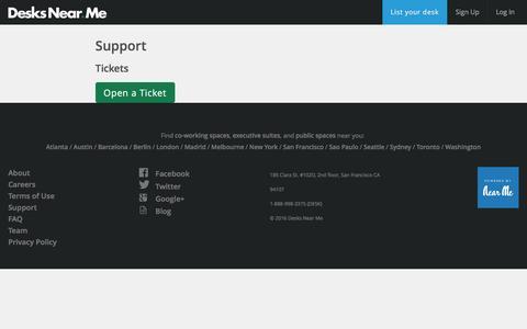 Screenshot of Support Page desksnear.me - Desks Near Me - captured Nov. 24, 2016