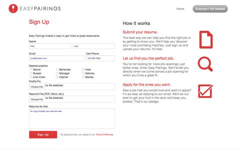 Screenshot of Signup Page easypairings.com - Easy Pairings - find the happiest employment - captured Nov. 19, 2015