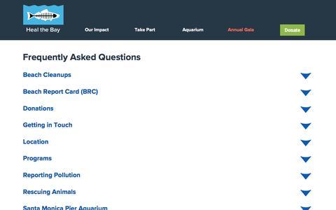 Screenshot of FAQ Page healthebay.org - FAQ - Heal the Bay - captured May 16, 2017