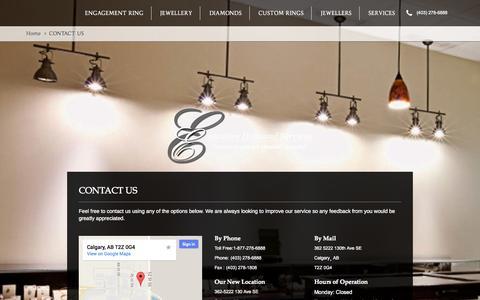 Screenshot of Contact Page executivediamonds.ca - Contact Us | Executive Diamonds Calgary | - captured Sept. 30, 2014