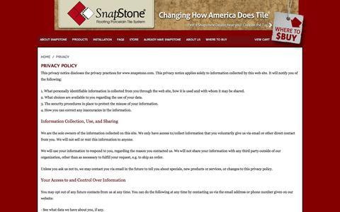 Screenshot of Privacy Page snapstone.com - SnapStone | Privacy - captured Nov. 7, 2016