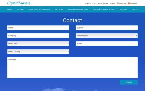 Screenshot of Contact Page crystal-lagoons.com - Contact Us | Crystal Lagoons - captured May 22, 2017