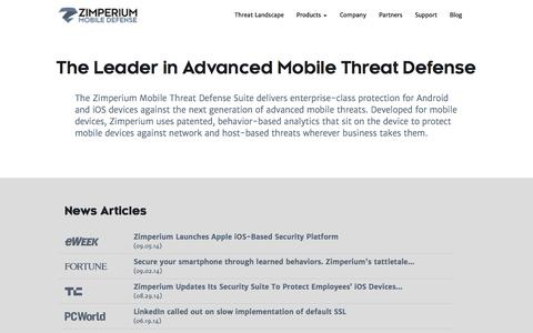Screenshot of Contact Page zimperium.com - About The Company | Zimperium - captured Sept. 17, 2014