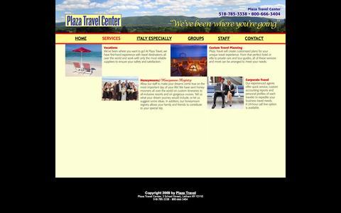 Screenshot of Services Page plazatravel.net - Plaza Travel Agency & Travel Center, Albany NY - captured Oct. 3, 2014