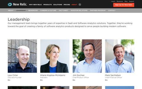 Screenshot of Team Page newrelic.com - Leadership   Application Monitoring   New Relic - captured Jan. 16, 2016