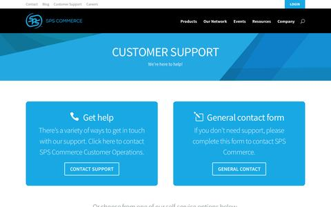 Screenshot of Support Page spscommerce.com - Customer Support | SPS Commerce - captured July 15, 2015