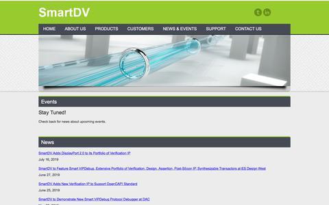 Screenshot of Press Page smart-dv.com - News and Events for SmartDV Technologies - captured July 23, 2019