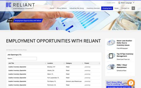 Screenshot of Jobs Page reliant-inv.com - Employment Opportunities at Reliant Inventory | Available Jobs - captured Oct. 6, 2017