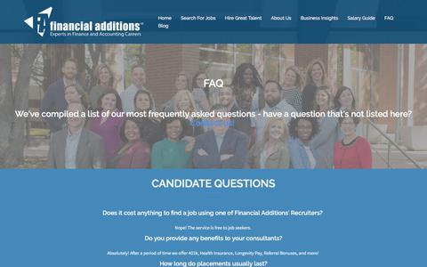 Screenshot of FAQ Page financialadditions.com - FAQ – Financial Additions - captured June 6, 2017