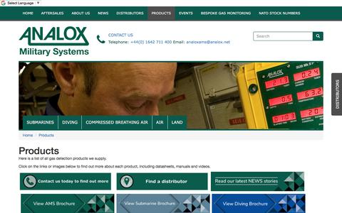 Screenshot of Products Page analoxmilitarysystems.co.uk - Analox Military Systems products - captured July 30, 2018
