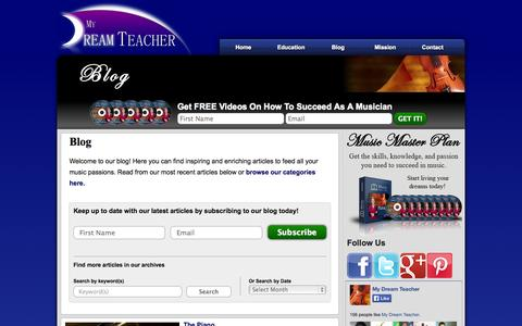 Screenshot of Blog mydreamteacher.com - Blog | Help for Music Students, Parents, and Music Teachers | My Dream Teacher - captured Oct. 9, 2014