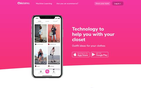 Screenshot of Home Page chicisimo.com - Chicisimo - The outfit ideas app to decide what to wear - captured July 12, 2018