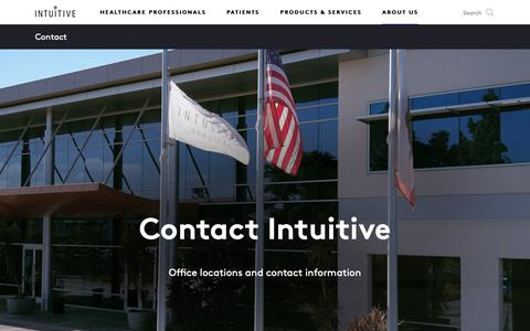 Screenshot of Contact Page intuitive.com - Intuitive   About us   Company   Contact - captured March 28, 2019