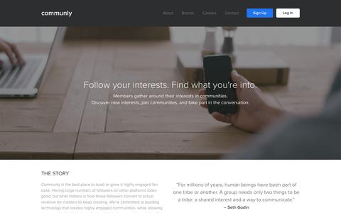 Screenshot of About Page communly.com - Communly | About - captured Dec. 10, 2015