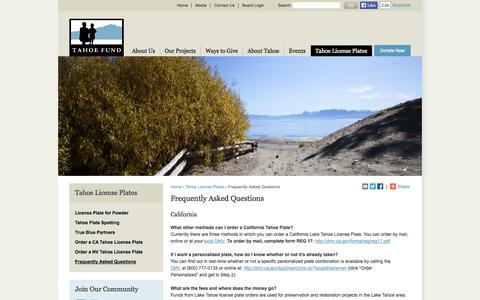 Screenshot of FAQ Page tahoefund.org - California & Nevada Lake Tahoe License Plates | FAQ - captured Oct. 27, 2014
