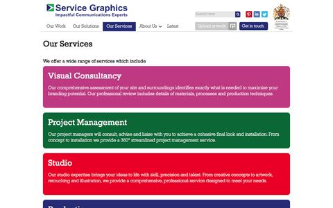 Screenshot of Services Page servicegraphics.co.uk - Our Services - Visual Consultancy, Production & Installation - Service Graphics - captured Oct. 7, 2014
