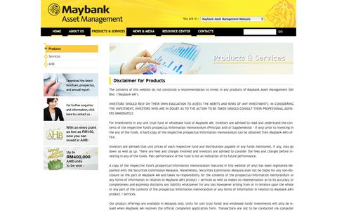 Screenshot of Products Page maybank-am.com.my - Maybank Asset Management - captured Oct. 23, 2018