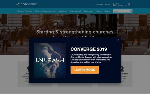Screenshot of Home Page converge.org - Converge | Starting & strengthening churches together worldwide - captured Dec. 5, 2018