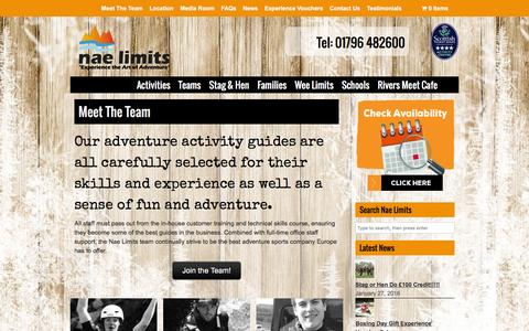 Screenshot of Team Page naelimits.co.uk - Meet The Team | Nae Limits – Outdoor Adventures and Gift Experiences in Scotland - captured Feb. 22, 2016