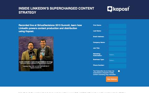 Screenshot of Landing Page kapost.com - Inside LinkedIn's Supercharged Content Strategy - captured March 17, 2016