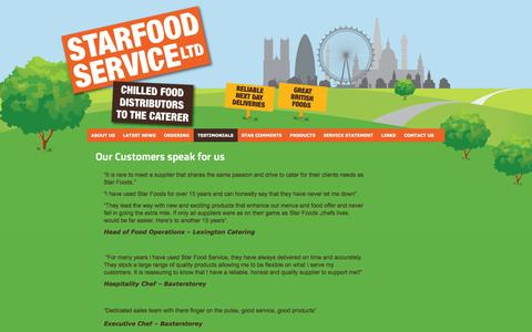 Screenshot of Testimonials Page starfood.co.uk - Our Customers speak for us | Star Food Service - captured Oct. 7, 2014