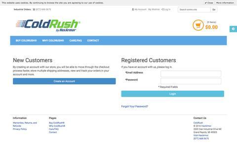 Screenshot of Login Page coldrush.com - Customer Login   ColdRush by HexArmor® - captured Nov. 18, 2016