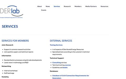 Screenshot of Services Page der-lab.net - Services  |  DERlab - captured Nov. 11, 2016