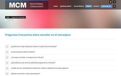 Screenshot of FAQ Page mcm.info - Preguntas Frecuentes sobre estudiar en el extranjero | MCM, estudiar en el extranjero - captured Dec. 17, 2018