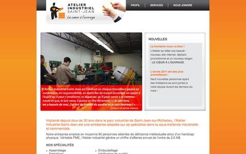 Screenshot of Home Page atelierindustriel.ca - Atelier Industriel - captured Oct. 4, 2014
