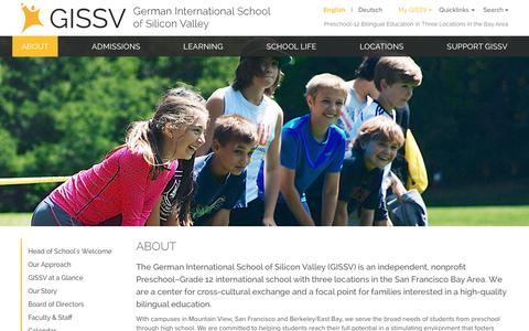 Screenshot of About Page gissv.org - German International School of Silicon Valley - About - captured July 30, 2017