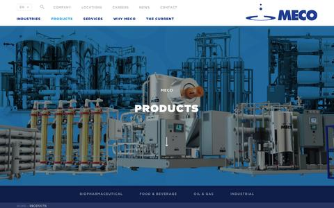 Screenshot of Products Page meco.com - Pure Water & Pure Steam for Marine Oil & Gas Industry - captured May 26, 2017