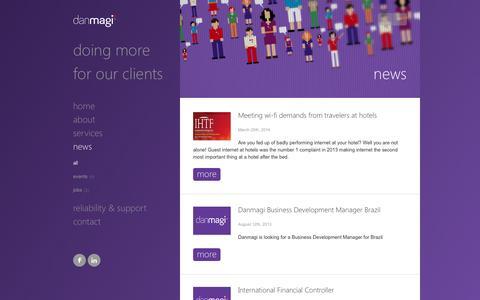 Screenshot of Press Page danmagi.com - All  News   Danmagi ApS - captured Oct. 5, 2014