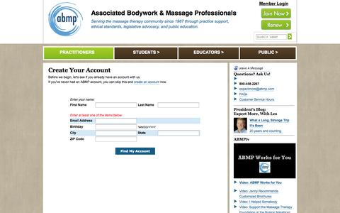 Screenshot of Signup Page abmp.com - Associated Bodywork and Massage Professionals: ABMP Provides Massage Therapy Professionals, Students, and Massage Schools with Liability Insurance and Business Support - captured Sept. 19, 2014