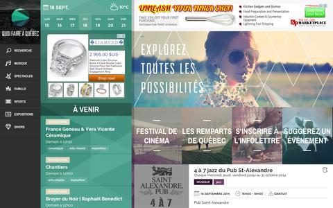 Screenshot of Home Page quoifaireaquebec.com - Événements et Activités à Québec | Quoi faire à Québec - captured Sept. 19, 2014