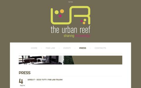 Screenshot of Press Page theurbanreef.it - The Urban Reef - Press - captured Jan. 11, 2016