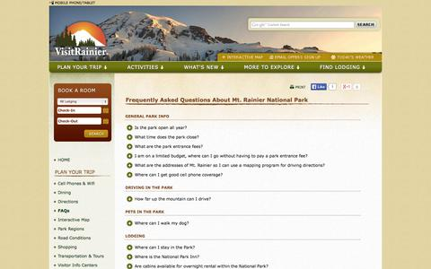 Screenshot of FAQ Page visitrainier.com - Frequently Asked Questions, FAQs, about Mount Rainier National Park - captured Oct. 26, 2014