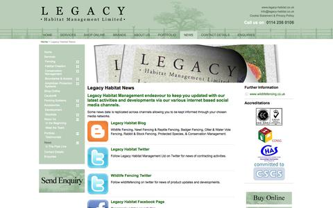 Screenshot of Press Page legacy-habitat.co.uk - Habitat Management News - Legacy Habitat - captured Oct. 2, 2014