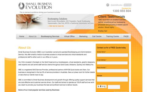 Screenshot of About Page sbe.net.au - About Us   Small Business EvolutionSmall Business Evolution - captured Oct. 26, 2014