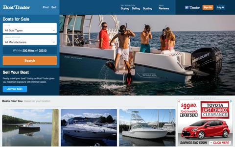 Screenshot of Home Page boattrader.com - Boats for Sale - Buy Boats, Sell Boats, Boating Resources, Boat Dealers, Parts and Accessories - BoatTrader.com - captured Sept. 11, 2015