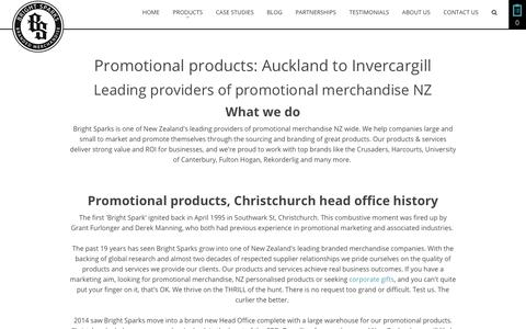 Screenshot of About Page brightsparks.co.nz - Promotional products Auckland Christchurch - captured Oct. 6, 2018