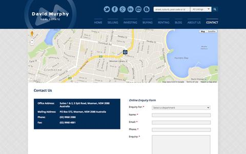 Screenshot of About Page Contact Page davidmurphy.com.au - David Murphy Real Estate specialises in real estate in North Shore Lower | davidmurphy.com.au - Contact Us - captured Oct. 23, 2014
