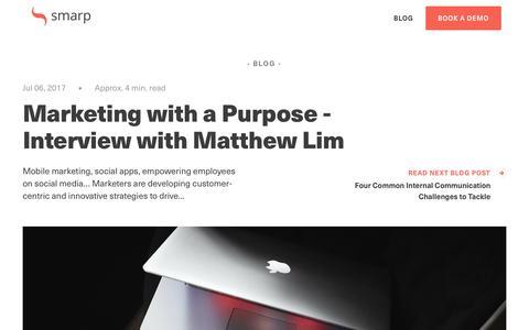Screenshot of Blog smarp.com - Marketing with a Purpose - Interview with Matthew Lim - captured Nov. 4, 2019