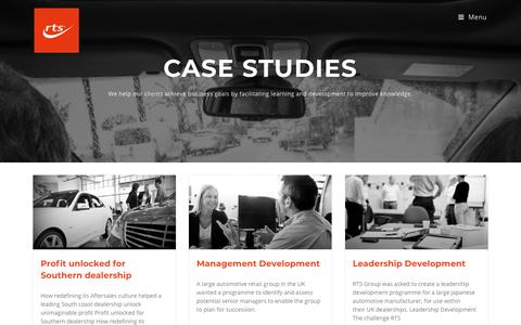 Screenshot of Case Studies Page rtsgroup.com - Case Studies - Welcome to RTS Group - captured Sept. 21, 2018