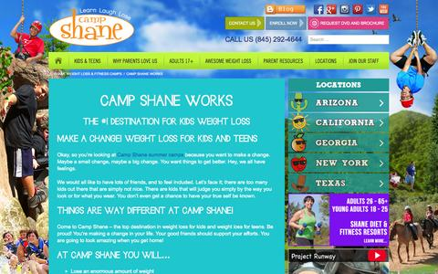 Screenshot of Locations Page campshane.com - Weight Loss for Kids and Teens that Works! - Visit Camp Shane - captured Sept. 29, 2014