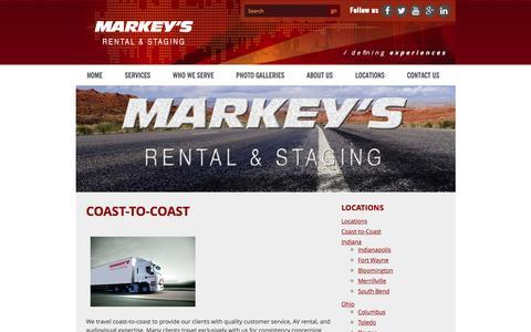 Screenshot of Locations Page markeys.com - Coast To Coast- Nationwide Audiovisual Supplier: Markey's Rental & Staging - captured Nov. 27, 2016