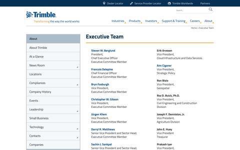 Screenshot of Team Page trimble.com - About Trimble | The Executive Team - captured Jan. 26, 2016
