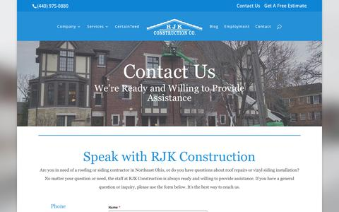 Screenshot of Contact Page rjkco.com - Contact Willoughby Roofing Contractor | RJK Construction Co. - captured Nov. 2, 2017