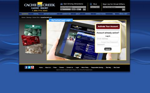 Screenshot of Login Page cachecreek.com - Cache Creek - Gaming - Cache Club - Mycachecreek.com - captured Feb. 13, 2016